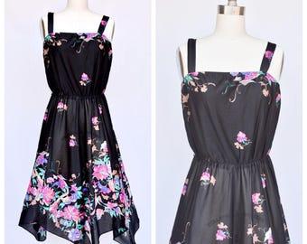 1970s floral print handkerchief dress /small to medium