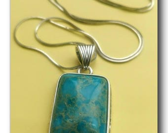 """Silver plated and Dyed Imperial Jasper Stone Necklace Pendant.""""Beautiful Spirit"""" jasper stone,fun, silver,pendant,boho,chic,24 inch,gift."""