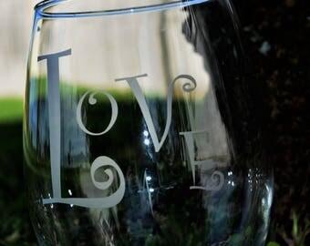 LOVE Stemless  16 oz wine glass