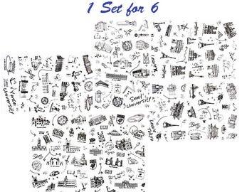 Creative Stickers, Retro, Sketching, Architecture, Stamp, Alphabet, Stationery