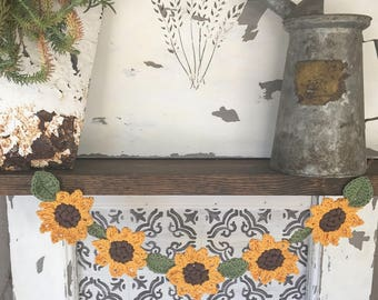 Crocheted sunflower garland, bunting, summer, fall, flowers
