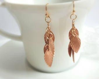 Copper earrings, drop earrings, leaf earrings, leaf jewelry, copper jewelry, copper jewellery, bridesmaid earrings, rustic bridal jewelry