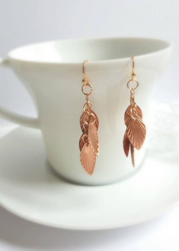 Rustic Copper Leaf Dangly Earrings