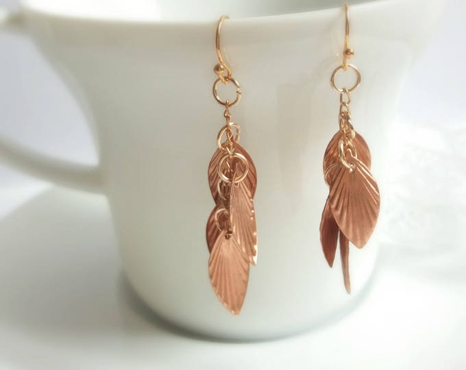 Copper earrings, Christmas gift, leaf earrings, leaf jewelry, rose gold jewelry, gift for her, bridesmaid earrings, rustic bridal jewelry