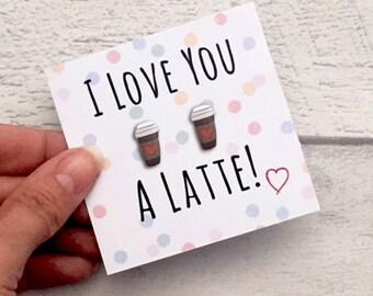 Coffee earrings, Coffee stud earrings, Coffee Lover, Coffee gift, coffee jewellery, coffee cup, coffee cup stud earrings, Coffee bean