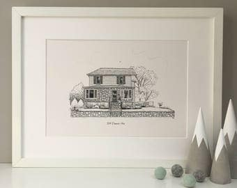 Personalised house portrait, line drawing, pen house illustration, housewarming gift, new home gift