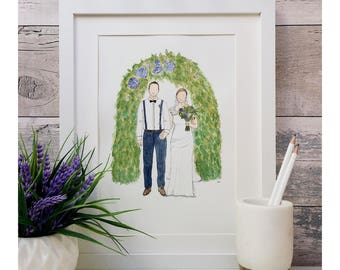Bride and groom wedding portrait in watercolour. Personalised.