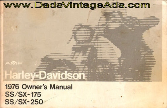 1976 Harley-Davidson SS/SX-175 & 250 Motorcycle Owner's Manual #mm83