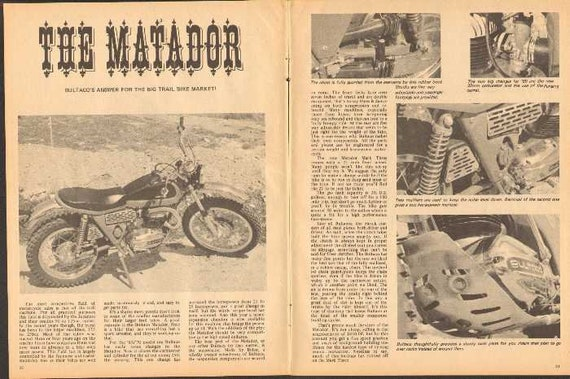 1969 Bultaco Matador Trail Bike Motorcycle 2-Page Article #nbk07