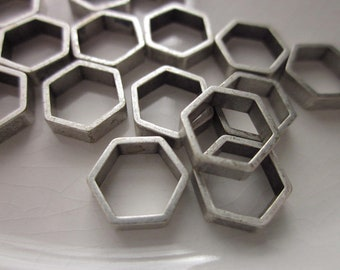 15 Hexagon (Six-sided) Silver Metal Components with Center Opening, 10mm Diameter x 3mm Thick