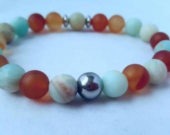 Mala bracelet/  stainless steel beads / Yoga bracelet/  boho /  beaded bracelet/ gemstone /wrist  bracelet/ stackable bracelet/ amazonite