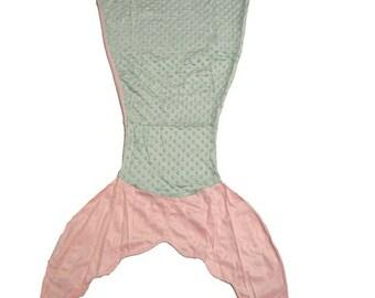 Mermaid tail blanket, tail blanket, fish tail, soft blanket, minky blanket, fleece blanket, gift for girl, baby blanket, mint mermaid tail