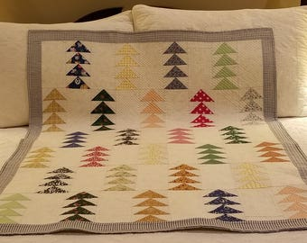 Hand Crafted Baby Quilt Flying Geese Pattern Free Shipping