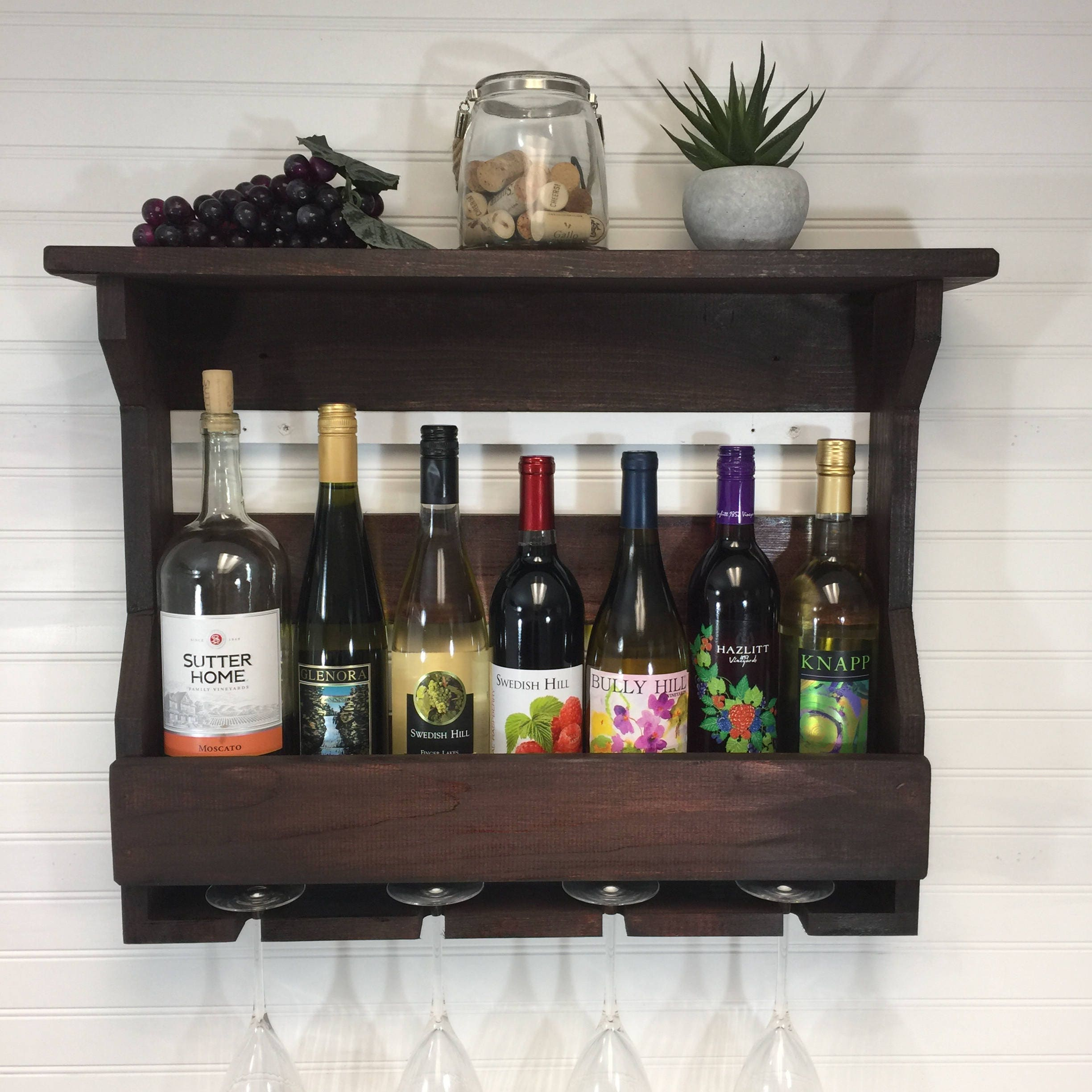 Decorative Wall Wine Rack wooden wine rack | wall mounted wine rack | handmade rustic home