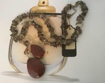 Smoky Quartz Red Jasper Pendant Necklace