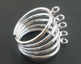 "Ring ""Diadem 5 rings"" Silver adjustable metal"