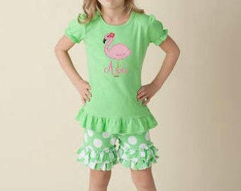 Flamingo Girls Outfit Personalized