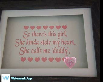 DADDYS GIRL PAPERCUT framed, designed by quirkycraftsuk