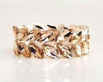Blush Pink Bracelet,Bridal Rose Gold Crystal Bracelet,Rosegold Peach Stretchable Bracelet,Bridesmaid Wedding Gift Jewelry,Prom Bracelet