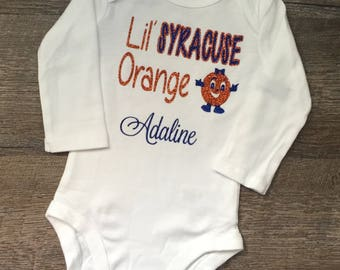 Collegiate Baby Bodysuit Tee-Syracuse Baby-Syracuse Tee-Baby Bodysuit-Football Bodysuit-Otto The Orange-Baby Sport-Baby College Tee Shirt