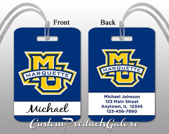 College Luggage Tag, Marquette, Personalized Luggage Tag, Suitcase Bag Tag, Fun Luggage Tag