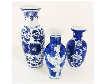 Three Blue and White Ceramic Bottles or Vases, Vintage Made in China Pottery