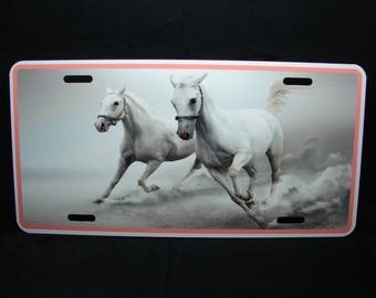 HORSE METAL Novelty License plate For cars White Horse