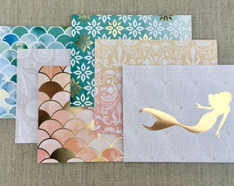 Under the Sea Mermaid Cards, 6 PCS Blank Cards with White Envelopes, Gold Foil Cards, Blank Greeting Cards, Birthday Card