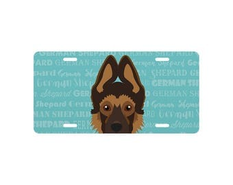 Adorable German Shepherd Puppy Inspired License Plate Large OR Mini