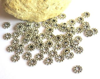 50 spacer beads silver metal 6.5 mm