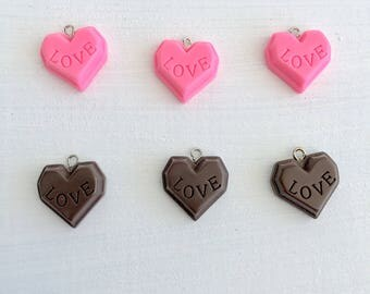 6 Mixed Kawaii Charms,Heart Charms,Pendant,Jewelry Making,Food Charms,Resin Charms 16x19mm Lot #1/1