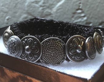 RESERVED for AMEENA Wearable Art, Button Bracelet, Silver Bracelet, Knitted Bracelet, Hemp Bracelet