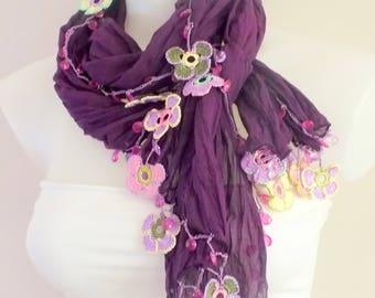 Purple crochet beaded crochet scarf Crochet jewerly Crochet necklace Cotton crochet scarf Boho wrap scarf Boho beaded Oya scarf Skinny scarf