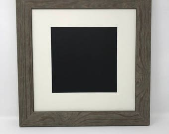 "12x12 Square1.75"" Rustic Grey Solid Wood Picture Frame with Cream Mat Cut for 8x8 Picture"