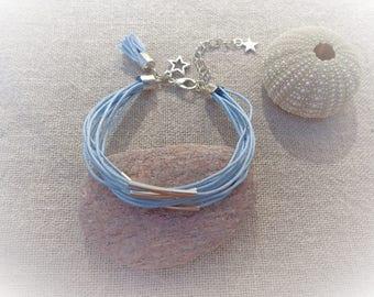 Blue Cuff Bracelet silver multi-row bracelet blue bracelet blue cotton bracelet