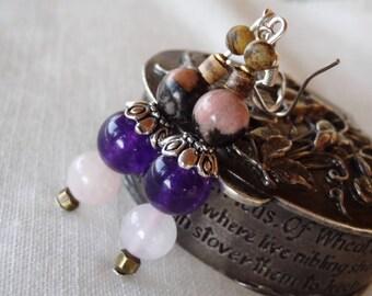 Amethyst rhodonite Jasper and quartz earrings pink