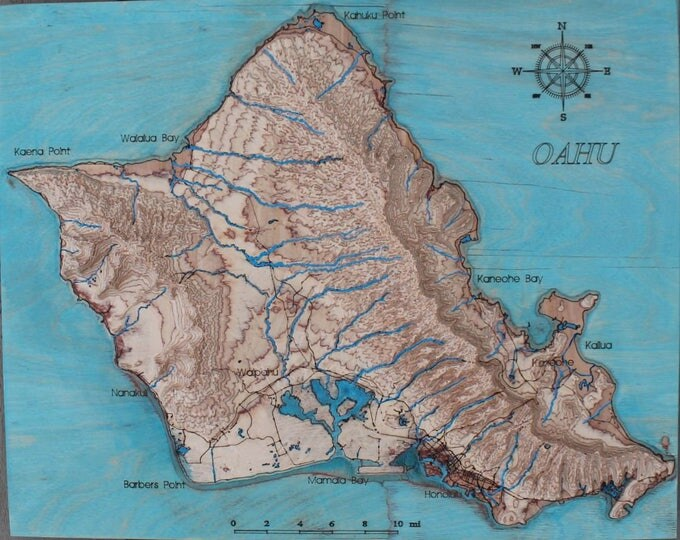 Oahu Island, Hawaii 3D map/3D wall art/Oahu map/