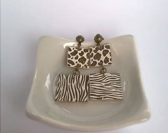 Earrings square double jungle style, quirky, original