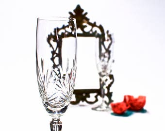 VINTAGE: 2pc Crystal Glass Champaign Flutes - Glasses - Crystal Clear - SKU 22-C-00011227