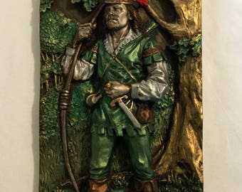 Vintage Marcus Replica Robin Hood Relief Wall Plaque Made in England