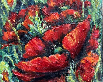 Red Poppies, original oil painting