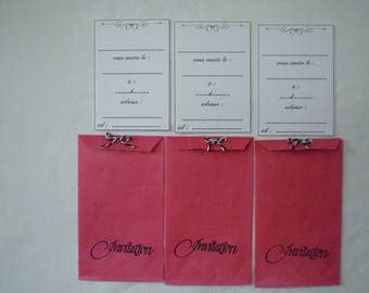 "Three invitations ""classic"" kraft bags in pink"