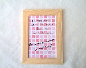 Pink grandmother quote frame