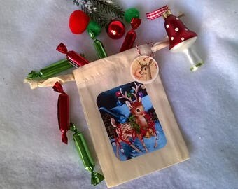 "Mini bag fabric off white Christmas ""Rudolph"" customizable"