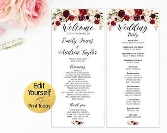 Wedding Program Template, Wedding Programs, Marsala Wedding Program, Editable Wedding Program, Burgundy Wedding Program, Ceremony Template