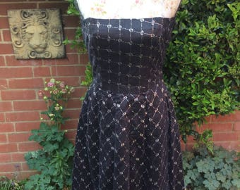 Late 1950's Early 1960's Black Laceand Lurex Dress