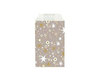 Set of 50 - bags gift bag kraft paper for jewelry or small items 12 X 7 cm grey and gold stars and white
