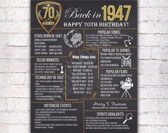 70th Birthday Chalkboard Poster Sign, 70 Years Ago Back in 1947 USA Events, Black White & Gold, Instant Download Digital Printable File  502