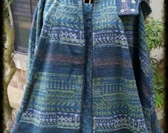 Aztec print Heavy Zip Up Cape with Detachable Hood