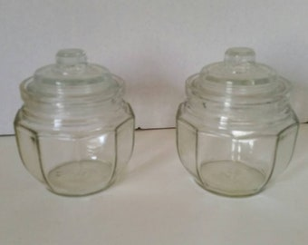Antique Anchor Hocking Clear Optic Covered Jars Set of Two